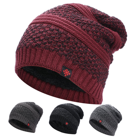Men's thick woolen hat outdoor warm knitted cotton earmuffs hood ski hat