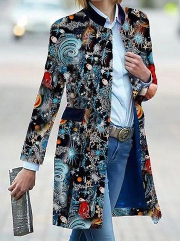 Vintage print long sleeve stand collar coat