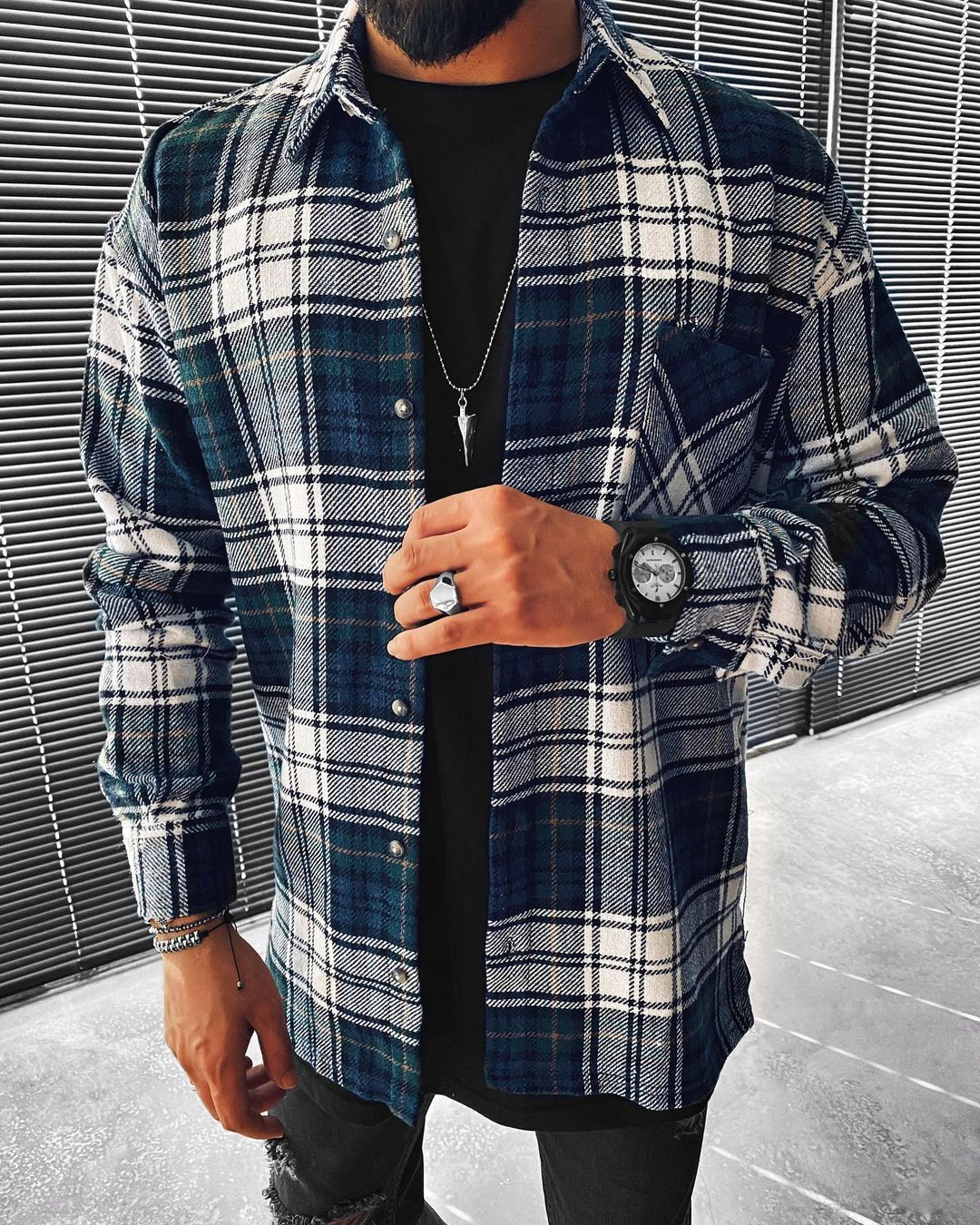 Casual fashion plaid texture long sleeve jacket