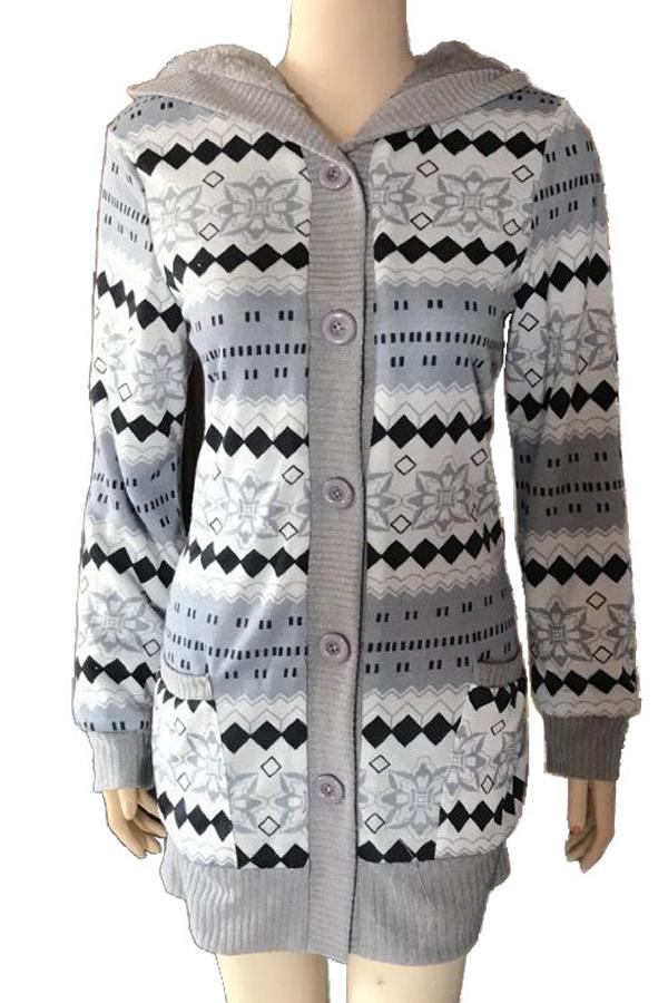 Mid-length plus velvet thick hooded knitted cardigan