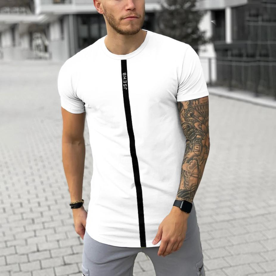 Men's fashion casual white T-shirt