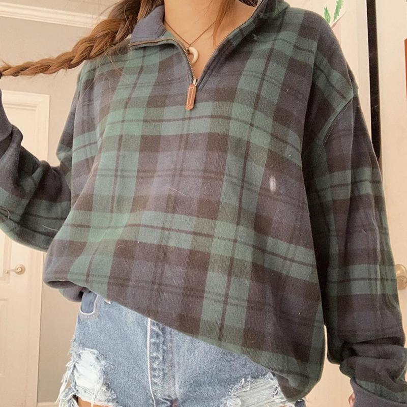 Fashion Vintage Plaid Zip Collar Long Sleeve Sweatshirt