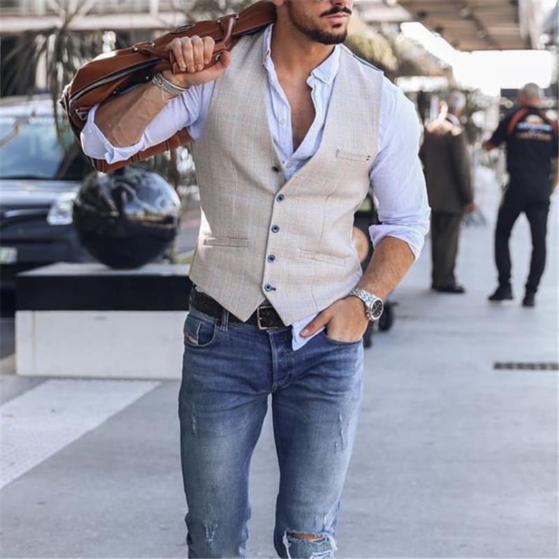 Men's fashion single-breasted V-neck vest