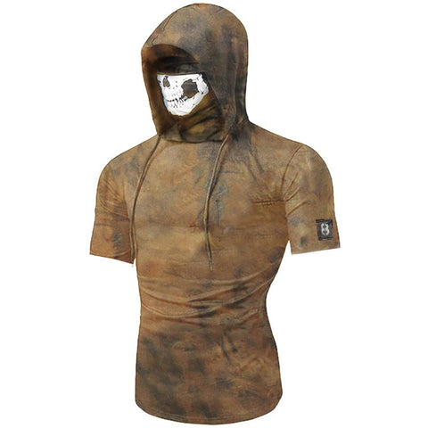 Turban mask hooded drawstring short sleeve T-shirt