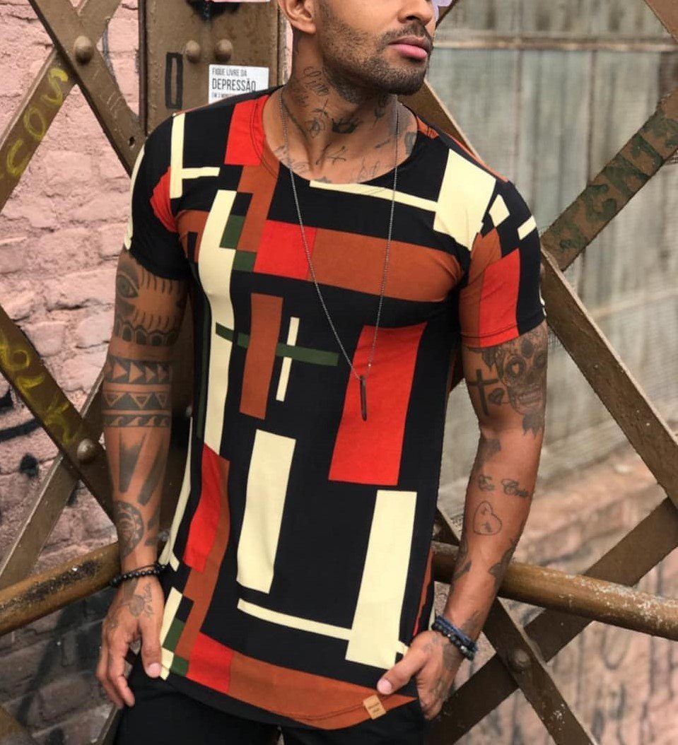 Casual Geometric Stitching Printed Slim-Fit T-Shirt