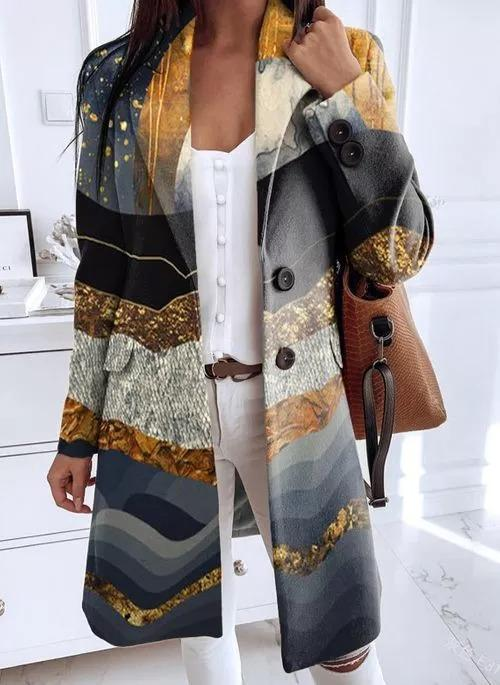 New womens long-sleeved printed coat