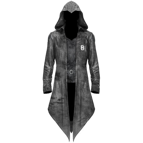 Gothic Hooded Jacket Coat Black Dieselpunk Assassins Creed