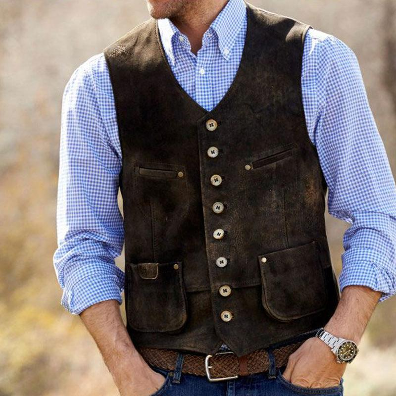 Leisure make old autumn and winter fitted waistcoat with man