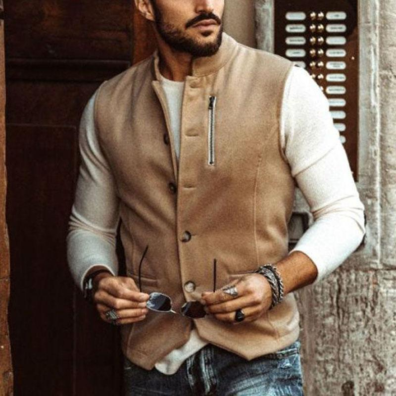 Leisure solid color autumn winter men trim waistcoat