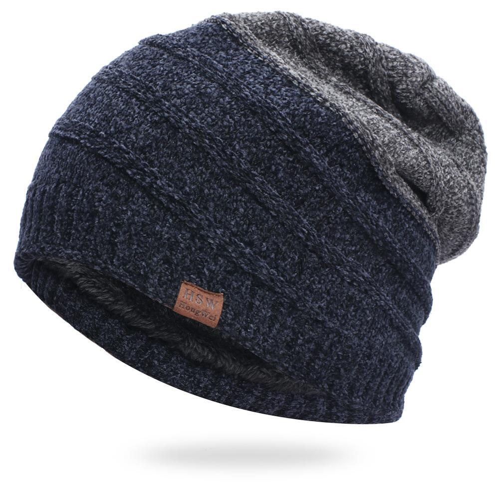 Men's hooded chenille woolen hat plus velvet thick warm ski climbing hat striped knitted hat