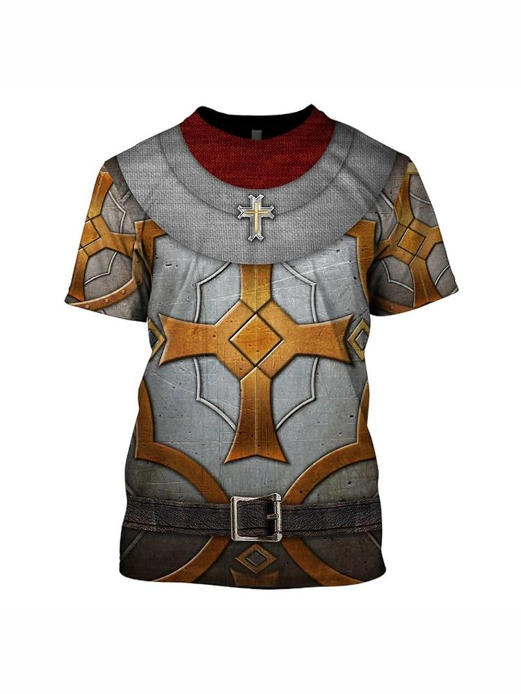 Men's medieval armor short sleeve T-shirt