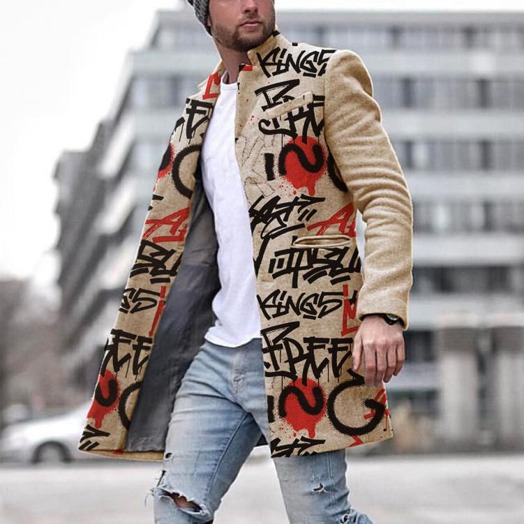 Men 's Casual Printed Colour Overcoat