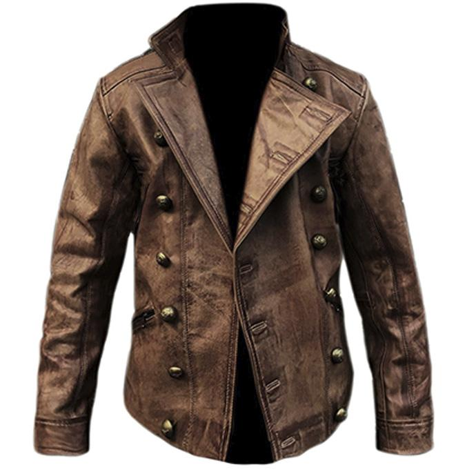 Mens Fashion Retro Distressed Pocket Leather Jacket