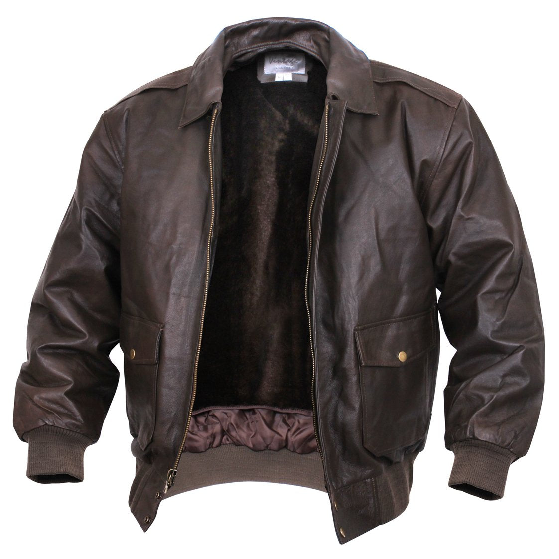 Mens A-2 Dark Brown Leather Flight Jacket