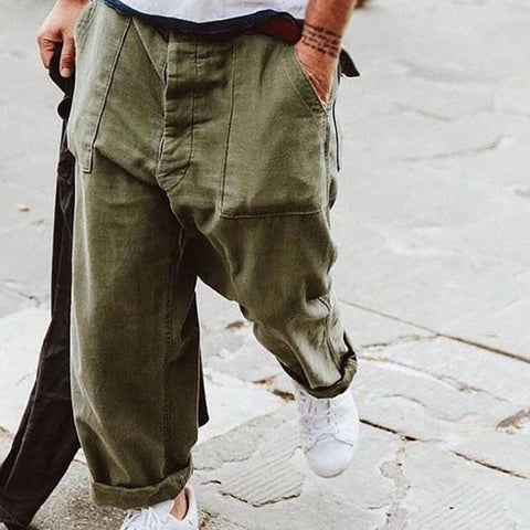 Casual Mens solid color loose pants