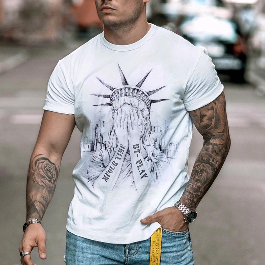 Mens Fashion Statue of Liberty Print T-shirt