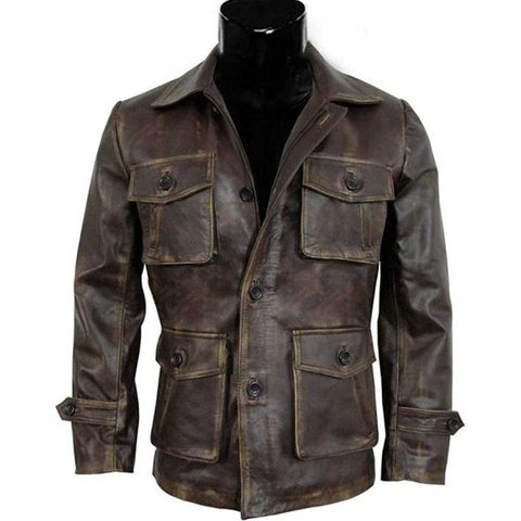Men's vintage pocket leather jacket