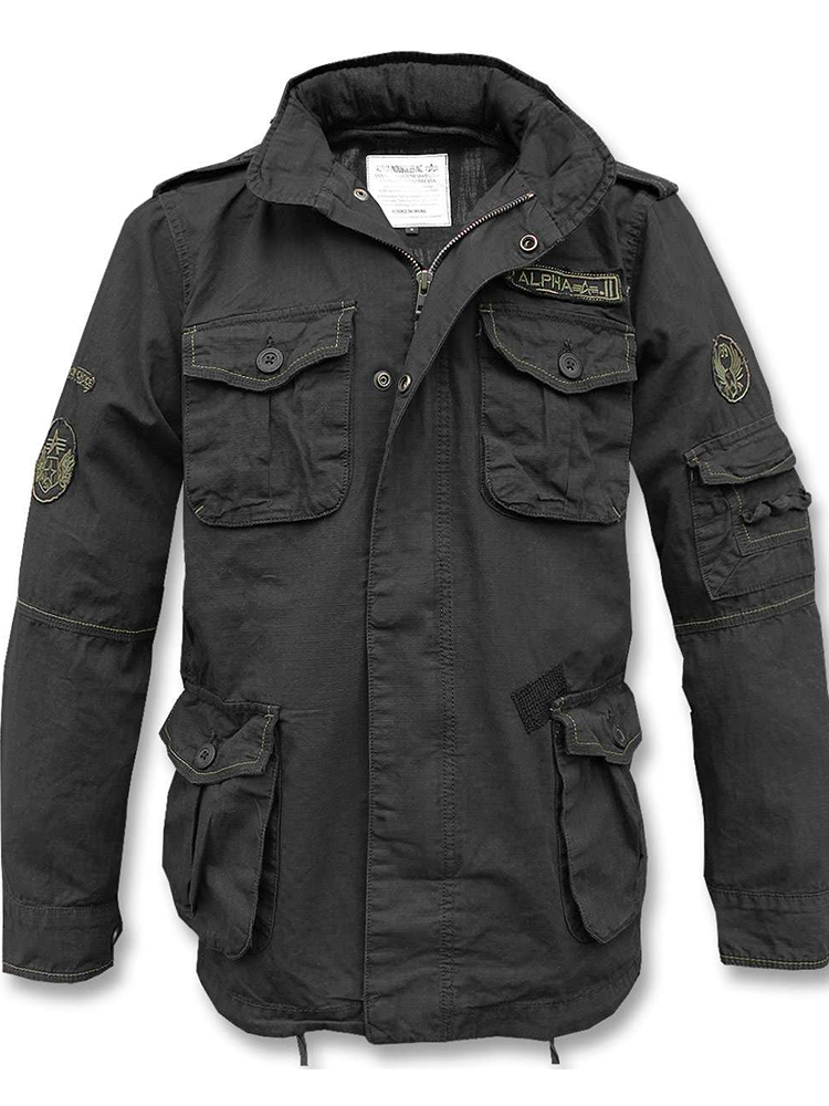 Mens Army Green Letter Print Work Jacket