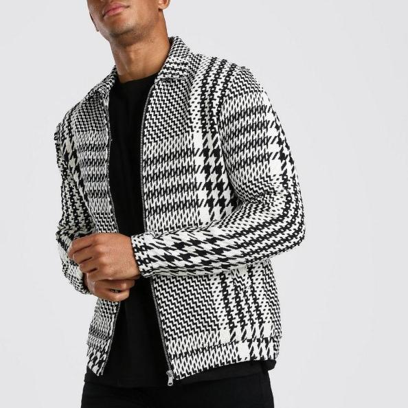 Mens fashion casual houndstooth check woolen jacket