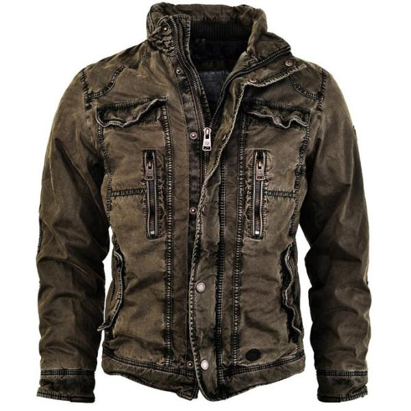 Mens Jacket Retro Washed Warm Jacket