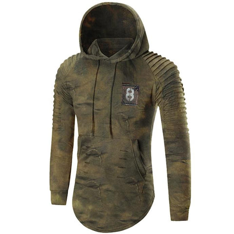 Men's retro print casual tactical hoodie
