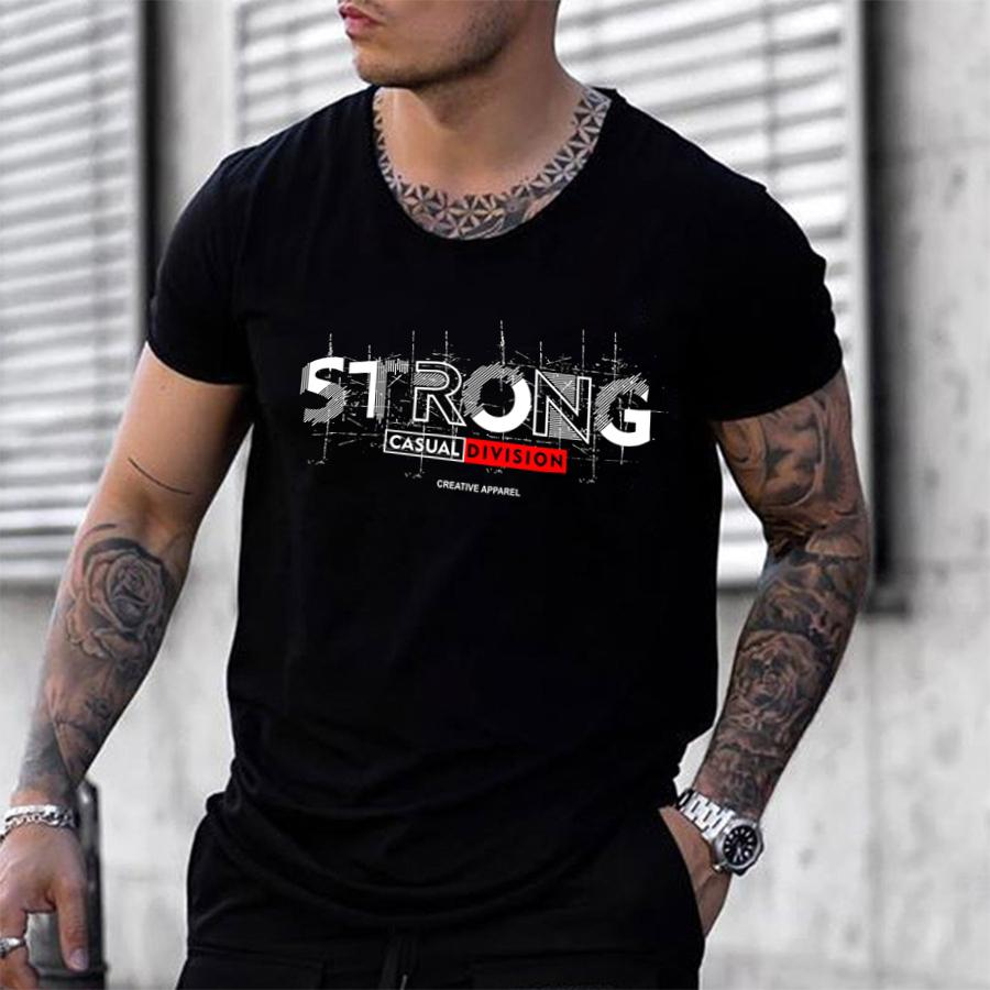 Mens fashion letter print short sleeve T-shirt