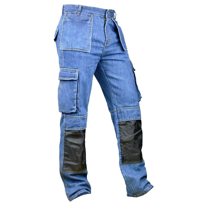 Blue pleated cargo jeans