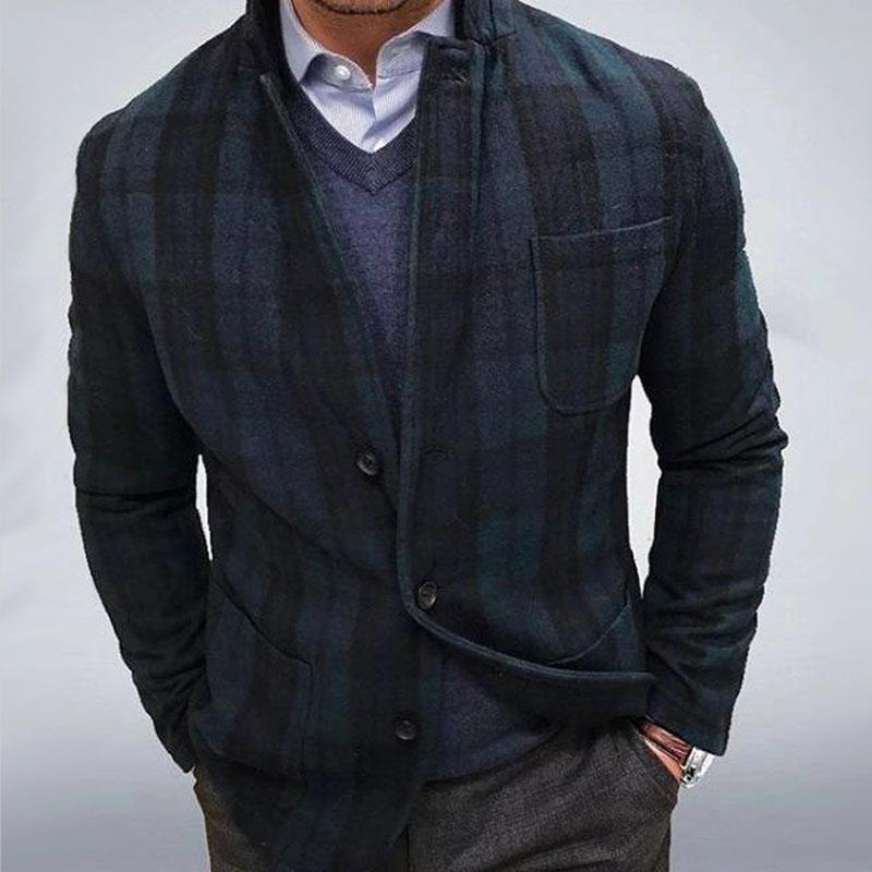 Casual plaid fit mens suits in autumn and winter