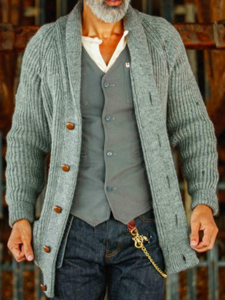 Men's casual simple thick wool casual cardigan mid-length sweater sweater