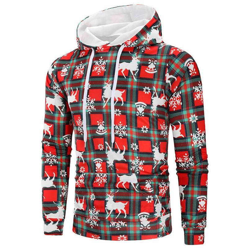 Mens Fashion Christmas Printed Hoodie