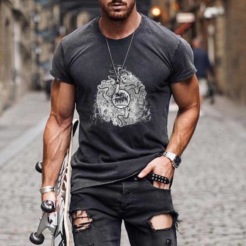 Men's Casual Round Neck Short Sleeve Bury Tomorrow Printed T-shirt