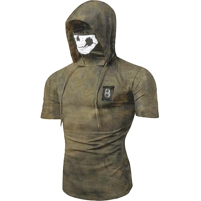 Bandana Mask Hooded Drawstring Short Sleeve T Shirt