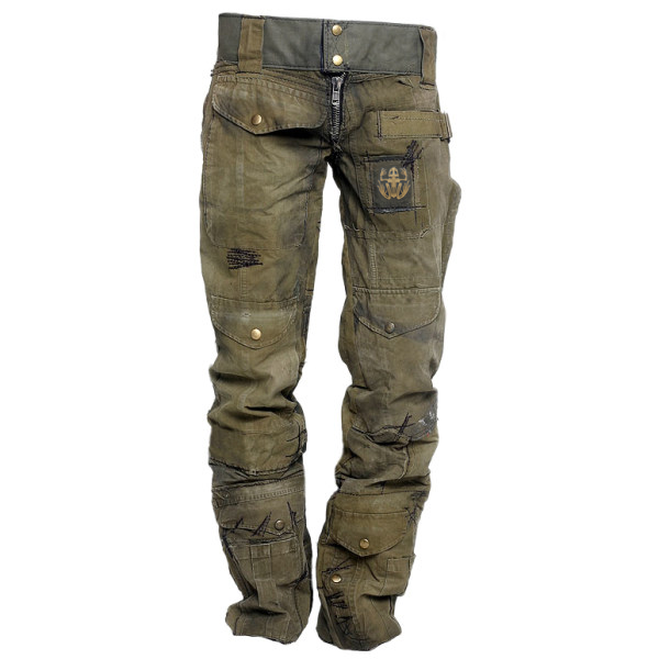 Mens outdoor wear-resistant skull frog pants