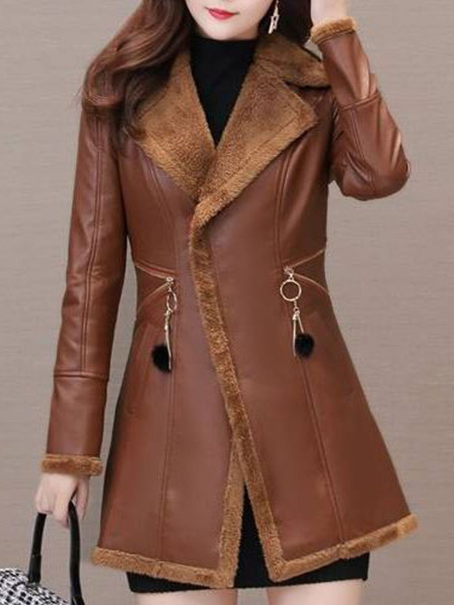 Turn-down Collar Long-sleeved Solid Color Fur Coat