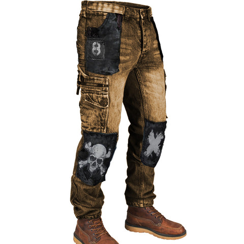 Retro Mens Multi Pocket Outdoor Casual Jeans