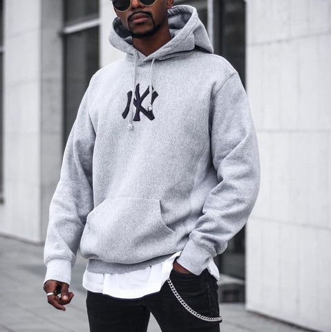 Men's Modern Casual Printed Color Long Sleeve Hoodie