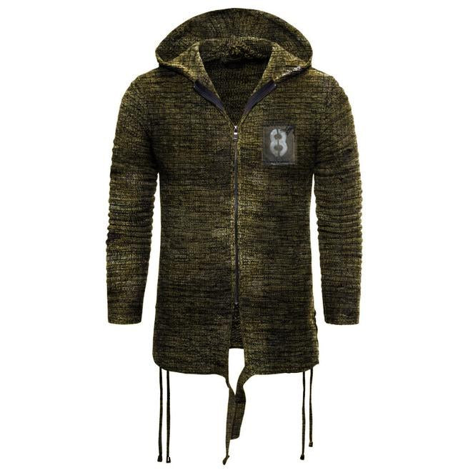 Men's outdoor retro tactical knitted hooded jacket