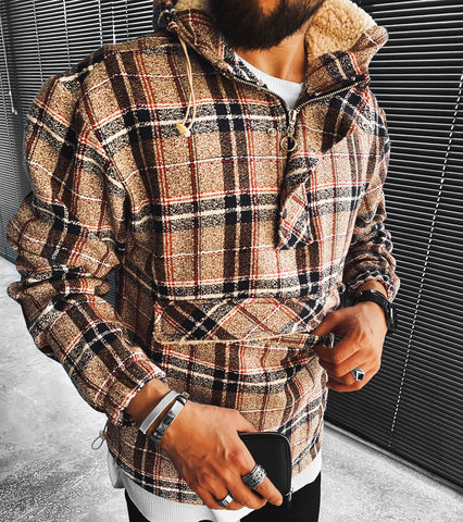 Casual fashion plaid hooded jacket