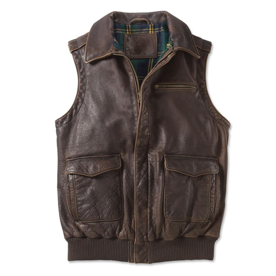 Vintage A Lapel Zip Leather Vest