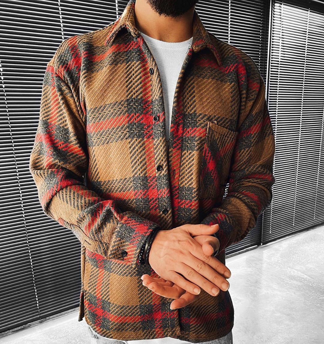 Checked Textured Lapel Long Sleeve Top Jacket