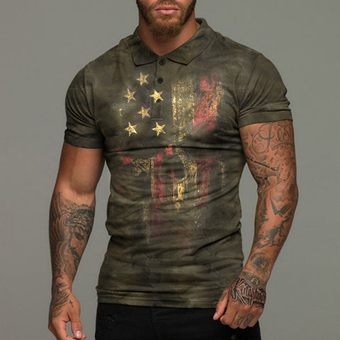 Mens retro casual short sleeve t-shirt