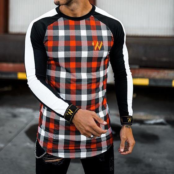 Casual street fashion color matching plaid long-sleeved T-shirt