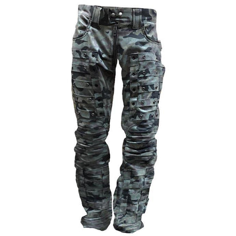 Mens Camouflage Rivets Outdoor Wear-resistant Military Trous
