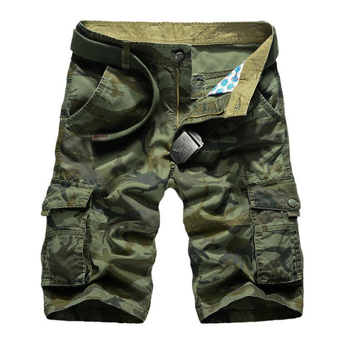 Men's plus size outdoor sports casual pants military uniform multi-pocket five-point pants