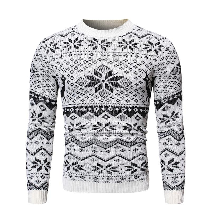 Retro men's round neck pullover snowflake Christmas sweater
