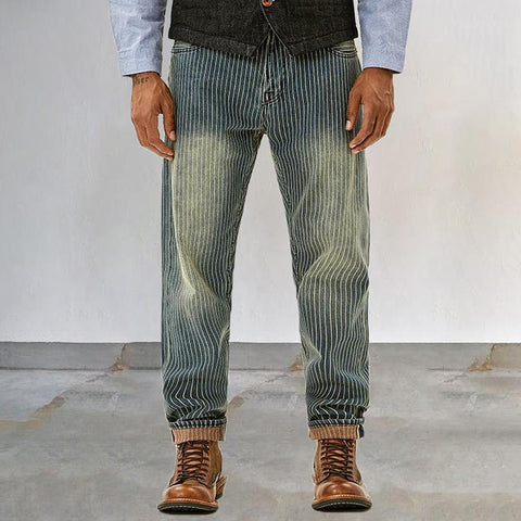 Mens retro striped jeans