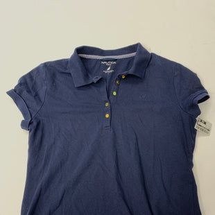 Primary Photo - BRAND:    CLOTHES MENTOR STYLE: BLOUSE SHORT SLEEVE COLOR: NAVY SIZE: L SKU: 200-200199-6130R