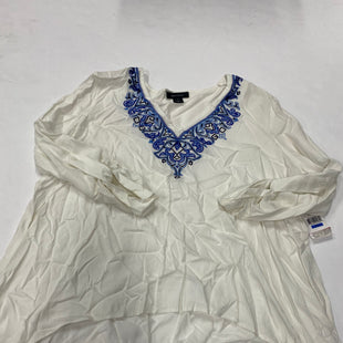Primary Photo - BRAND: KAREN KANE STYLE: TOP LONG SLEEVE COLOR: WHITE BLUE SIZE: XL SKU: 200-200202-3573