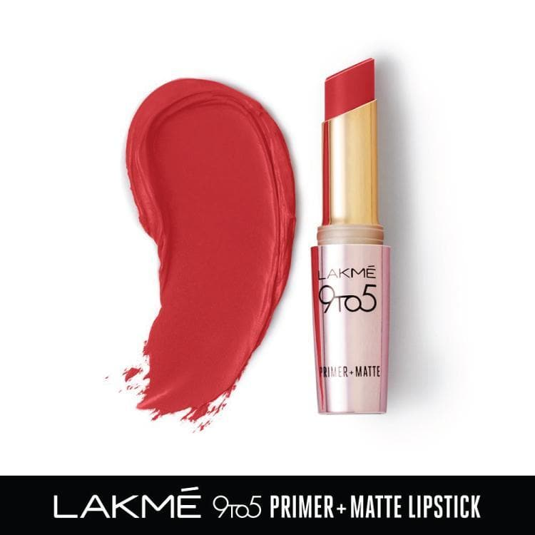 Lakme 9 to 5 Primer + Matte Lip Color, MR12 Crimson Catch, 3.6 g - Lakme Salon