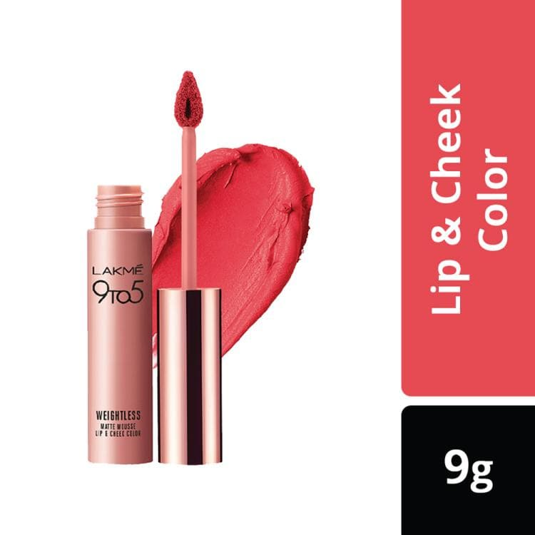 Lakme 9 to 5 Weightless Matte Mouse Lip and Cheek Color, Candy Floss 9 g